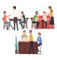 people drinking coffee and relaxing at coffeehouse vector image vector image