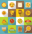 pizza icons set food flat style vector image vector image