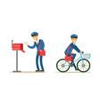 postmen delivering correspondence set postal vector image vector image