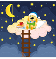 rabbit reads book in clouds at night vector image vector image
