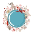 Round blue frame with Christmas decor vector image vector image