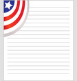 ruled sheet with a usa flag vector image vector image
