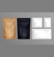 sachet set pouch foil paper or plastic bags vector image
