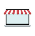 screen of laptop with awning vector image vector image