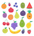 set of cute fruits and berries with smiles bright vector image