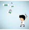 Shoot the gun at dollar bank flying with wings vector image