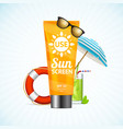 sun cream summer travel concept vector image