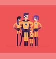 superheroes family - modern flat design style vector image