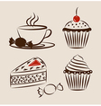 sweet pastry set with cup hot drink vector image vector image