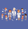 team pediatrician doctors with ill children vector image