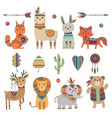 tribal animals cute zoo squirrel llama hare fox vector image