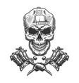 vintage tattoo master skull in cap vector image vector image