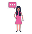woman character with speech bubble vector image vector image