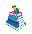 boy sitting at big pile of school books vector image