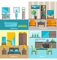 Interior rooms furnishing 4 flat icons vector image