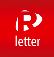 Abstract logo letter R on a red background vector image vector image
