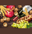 autumn time banner realistic wine bottle vector image vector image