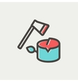 Ax and wood thin line icon vector image