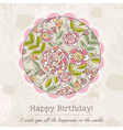 Birthday card with big round of spring flowers vector image vector image