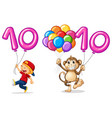 boy and monkey with balloon for number 10 vector image vector image