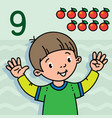 boy showing nine by hand counting education card 9 vector image