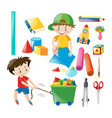 boys and many school items vector image