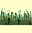 cartoon of coniferous forest in green tone vector image vector image