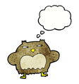 cartoon suspicious owl with thought bubble vector image vector image