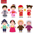 children of the world japan china korea vector image