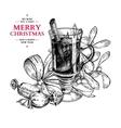 Christmas greeting card hand drawn vector image vector image