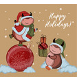 christmas kraft paper card hand drawn style of vector image vector image