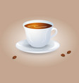 classic black coffee in a white cup and saucer vector image vector image