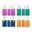 colorful set modern plastic suitcases vector image