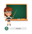 female teacher at the school blackboard vector image vector image