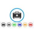 first aid toolkit rounded icon vector image vector image