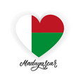 flag of madagascar in shape of heart with vector image vector image