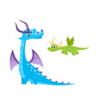 flat cartoon dragons set with horns wings vector image vector image