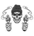 gangster skull in beanie hat vector image vector image