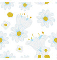 gentle chamomile flowers seamless white background vector image