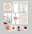 hand made christmas set with cardsnotesstickers vector image vector image