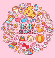 happy baby shower icon with lettering background vector image vector image