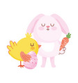 happy easter pink bunny chicken with egg carrot vector image