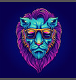 head lion portrait with sunglasses psychedelic vector image vector image
