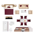 Interior Elements Top View Realistic Image vector image vector image