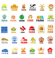 large set of logos farm vector image