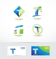 Letter t logo icon set vector image vector image