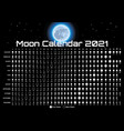 lunar calendar with moon and stars template vector image