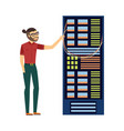 man at server rack at data center vector image