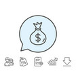 money bag line icon cash banking currency vector image vector image