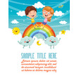 of kids sitting on rainbow vector image vector image